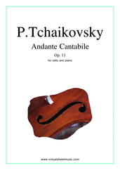 Cover icon of Andante Cantabile, Op.11 sheet music for cello and piano by Pyotr Ilyich Tchaikovsky, classical score, intermediate skill level