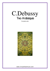 Cover icon of Two Arabesques sheet music for piano solo by Claude Debussy, classical score, intermediate skill level