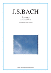 Cover icon of Arioso sheet music for violin and piano by Johann Sebastian Bach, classical wedding score, intermediate skill level