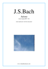 Cover icon of Arioso sheet music for clarinet and piano by Johann Sebastian Bach, classical wedding score, intermediate skill level