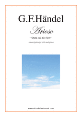 Cover icon of Arioso - Dank sei dir, Herr sheet music for cello and piano by George Frideric Handel, classical wedding score, easy skill level