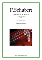 "Cover icon of Sonata in A minor ""Arpeggione"" sheet music for violin and piano by Franz Schubert, classical score, advanced skill level"