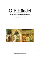 Cover icon of Arrival of the Queen of Sheba sheet music for alto saxophone and piano by George Frideric Handel, classical wedding score, intermediate skill level