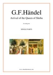 Cover icon of Arrival of the Queen of Sheba (parts) sheet music for string trio by George Frideric Handel, classical wedding score, easy/intermediate skill level