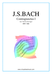 Cover icon of The Art of the Fugue, BWV 1080 - Contrapunctus I sheet music for piano solo (organ or harpsichord) by Johann Sebastian Bach, classical score, intermediate piano (organ or harpsichord)