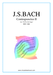 Cover icon of The Art of the Fugue, BWV 1080 - Contrapunctus II sheet music for piano solo (organ or harpsichord) by Johann Sebastian Bach, classical score, intermediate piano (organ or harpsichord)