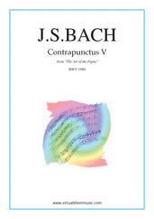 Cover icon of The Art of the Fugue, BWV 1080 - Contrapunctus V sheet music for piano solo (organ or harpsichord) by Johann Sebastian Bach, classical score, intermediate piano (organ or harpsichord)