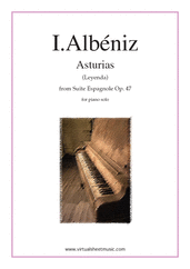 Cover icon of Asturias (Leyenda) sheet music for piano solo by Isaac Albeniz, classical score, advanced skill level