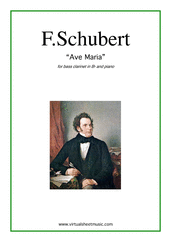 Cover icon of Ave Maria sheet music for bass clarinet and piano by Franz Schubert, classical wedding score, intermediate skill level