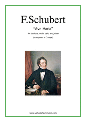 Cover icon of Ave Maria sheet music for baritone and piano trio by Franz Schubert, classical wedding score, intermediate skill level
