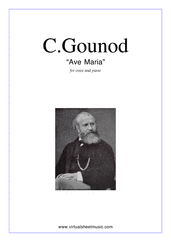 free Ave Maria (in C for alto) for voice and piano - free classical sheet music