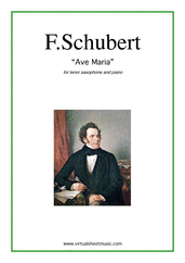 Cover icon of Ave Maria sheet music for tenor saxophone and piano by Franz Schubert, classical wedding score, intermediate skill level