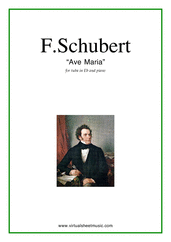 Cover icon of Ave Maria sheet music for tuba in Eb and piano by Franz Schubert, classical wedding score, intermediate skill level