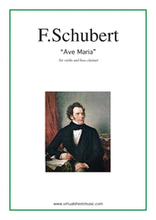 Cover icon of Ave Maria sheet music for violin and bass clarinet by Franz Schubert, classical wedding score, intermediate duet