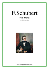 Cover icon of Ave Maria sheet music for violin and piano by Franz Schubert, classical wedding score, easy/intermediate skill level