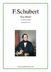 Cover icon of Ave Maria (in Bb for soprano) sheet music for voice and piano by Franz Schubert, classical wedding score, intermediate skill level