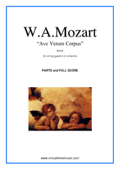 Cover icon of Ave Verum Corpus sheet music for string quartet or string orchestra by Wolfgang Amadeus Mozart, classical score, easy skill level