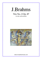 Cover icon of Trio No.2 Op.87 sheet music for violin, cello and piano by Johannes Brahms, classical score, advanced skill level
