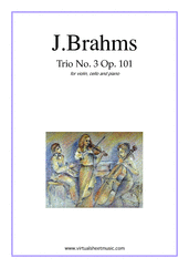 Cover icon of Trio No.3 Op.101 sheet music for violin, cello and piano by Johannes Brahms, classical score, advanced skill level