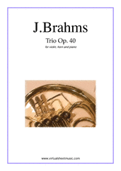 Cover icon of Trio Op.40 sheet music for violin, horn and piano by Johannes Brahms, classical score, intermediate/advanced skill level