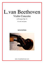 Concerto in D major Op.61 for violin and piano - ludwig van beethoven concerto sheet music