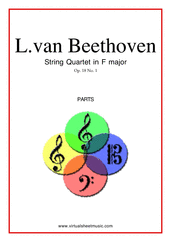 Cover icon of Quartet Op.18 No.1 in F major (parts) sheet music for string quartet by Ludwig van Beethoven, classical score, advanced skill level