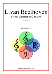 Cover icon of Quartet Op.18 No.2 in G major (parts) sheet music for string quartet by Ludwig van Beethoven, classical score, advanced skill level
