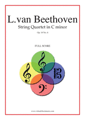 Cover icon of Quartet Op.18 No.4 in C minor (f.score) sheet music for string quartet by Ludwig van Beethoven, classical score, advanced skill level