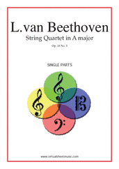 Cover icon of Quartet Op.18 No.5 in A major (parts) sheet music for string quartet by Ludwig van Beethoven, classical score, advanced skill level