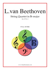 Cover icon of Quartet Op.18 No.6 in B major (f.score) sheet music for string quartet by Ludwig van Beethoven, classical score, advanced skill level