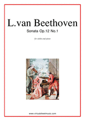 Cover icon of Sonata Op.12 No.1 sheet music for violin and piano by Ludwig van Beethoven, classical score, intermediate skill level