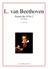 Cover icon of Sonata Op.14 No.2 sheet music for piano solo by Ludwig van Beethoven, classical score, intermediate/advanced skill level