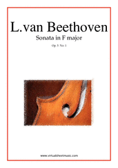Cover icon of Sonata in F major Op.5 No.1 sheet music for cello and piano by Ludwig van Beethoven, classical score, easy/intermediate skill level