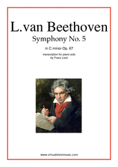 Cover icon of Symphony No.5 in C minor Op.67 sheet music for piano solo by Ludwig van Beethoven, classical score, advanced skill level