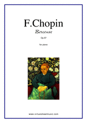 Cover icon of Berceuse Op.57 sheet music for piano solo by Frederic Chopin, classical score, advanced skill level