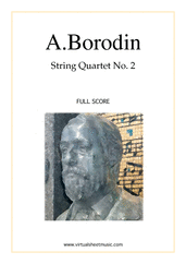 Cover icon of Quartet No.2 in D major (f.score) sheet music for string quartet by Alexander Borodin, classical score, advanced skill level