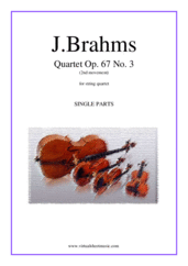 Cover icon of String Quartet Op. 67 No. 3, 2nd movement (parts) sheet music for string quartet by Johannes Brahms, classical score, advanced skill level