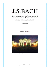 Cover icon of Brandenburg Concerto II (f.score) sheet music for tr, fl, ob, strings and harpsichord by Johann Sebastian Bach, classical score, intermediate orchestra
