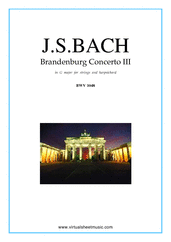 Cover icon of Brandenburg Concerto III (parts) sheet music for strings and harpsichord by Johann Sebastian Bach, classical score, intermediate orchestra