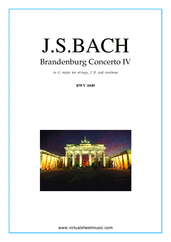 Cover icon of Brandenburg Concerto IV (parts) sheet music for 2 fl, strings and harpsichord by Johann Sebastian Bach, classical score, intermediate orchestra