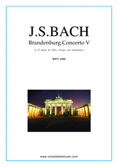 Cover icon of Brandenburg Concerto V (parts) sheet music for fl, strings and harpsichord by Johann Sebastian Bach, classical score, intermediate orchestra