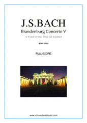 Cover icon of Brandenburg Concerto V (COMPLETE) sheet music for fl, strings and harpsichord by Johann Sebastian Bach, classical score, intermediate orchestra