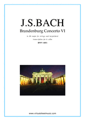 Cover icon of Brandenburg Concerto VI (parts) sheet music for six cellos by Johann Sebastian Bach, classical score, intermediate/advanced skill level