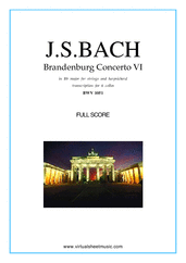 Cover icon of Brandenburg Concerto VI (COMPLETE) sheet music for six cellos by Johann Sebastian Bach, classical score, intermediate/advanced skill level