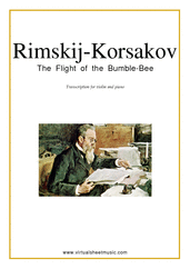 Cover icon of The Flight of the Bumblebee sheet music for violin and piano by Nikolai Rimsky-Korsakov, classical score, intermediate/advanced skill level