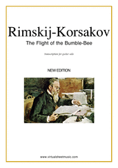 Cover icon of The Flight of the Bumblebee (advanced) sheet music for guitar solo by Nikolai Rimsky-Korsakov, classical score, advanced skill level