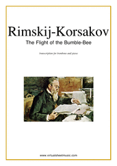 Cover icon of The Flight of the Bumblebee sheet music for trombone and piano by Nikolai Rimsky-Korsakov, classical score, advanced skill level