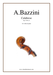 Cover icon of Calabrese Op.34 No.6 sheet music for violin and piano by Antonio Bazzini, classical score, advanced skill level