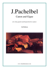 Cover icon of Canon in D and Gigue sheet music for string quartet and harpsichord (or piano) by Johann Pachelbel, classical wedding score, intermediate skill level