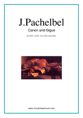 Cover icon of Canon in D and Gigue sheet music for fl, vl, 2 vc and piano by Johann Pachelbel, classical wedding score, intermediate skill level
